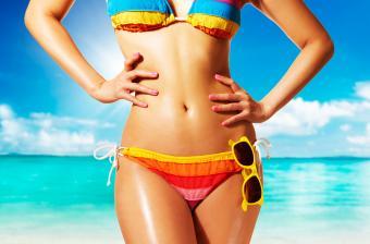 Woman with colorful bikini