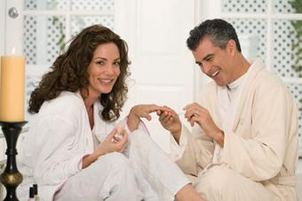 Couple doing nails