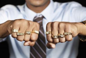 man with multiple rings
