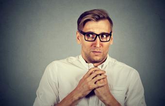 Nervous stressed man