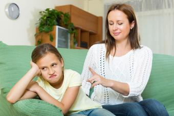 Parent scolding child