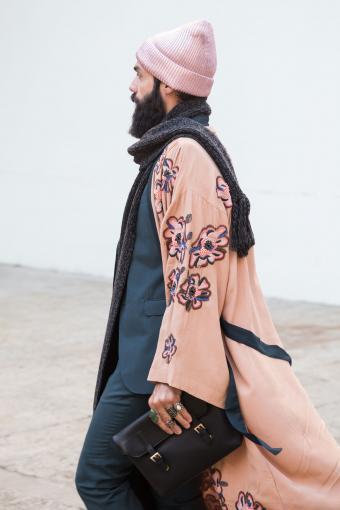 Fashionable man poses outside Damir Doma fashion show