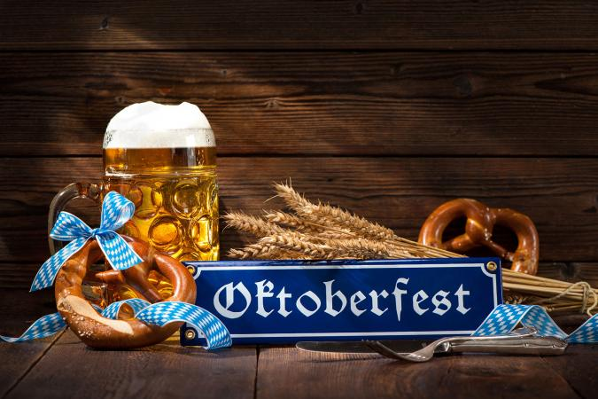Oktoberfest Bavarian pretzels with beer stein