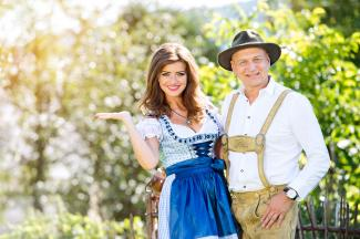 Couple in traditional Bavarian clothes