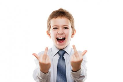 Child giving middle finger signs
