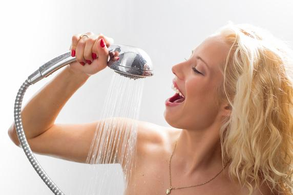 woman singing in shower