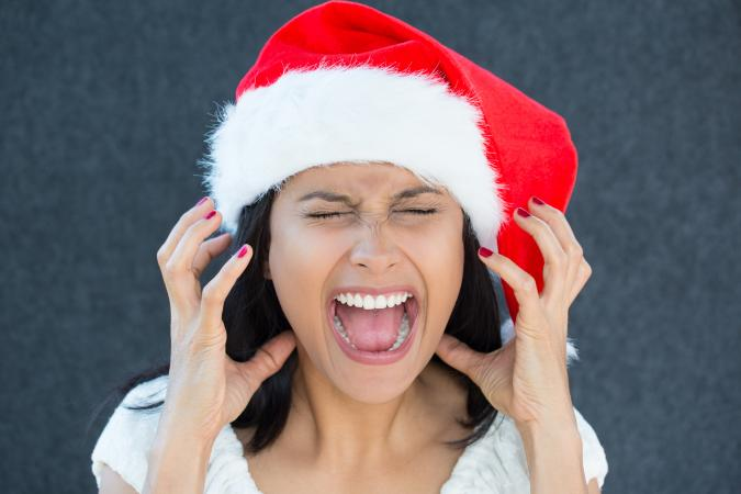 Woman expressing holiday frustration