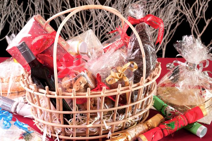 Gift basket filled with items being re-gifted