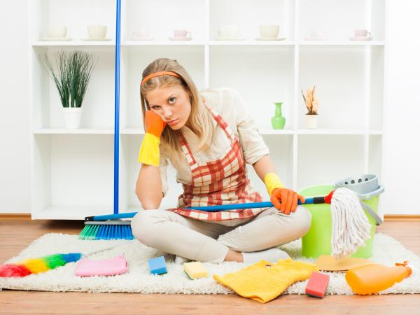 Woman who's sick of cleaning