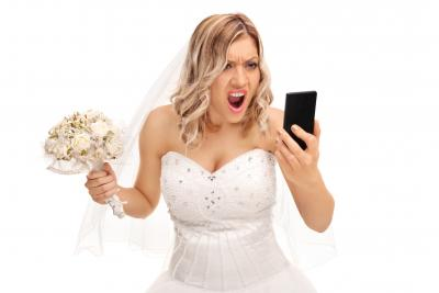 angry bride with phone