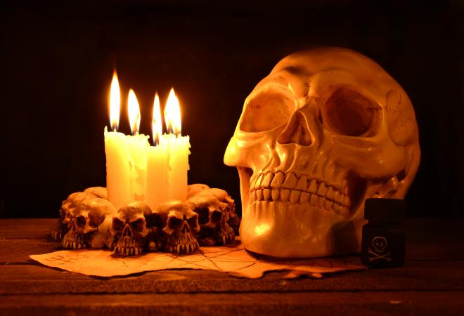 Skull with candles