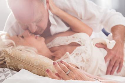 Senior couple about to kiss