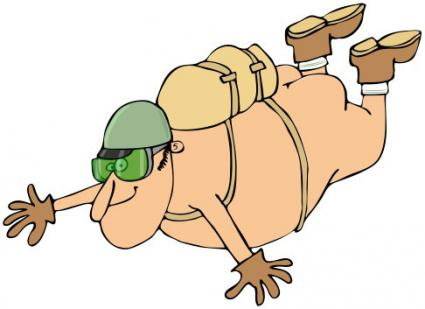 man skydiving naked illustration
