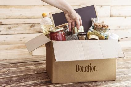 Food donation on a card box