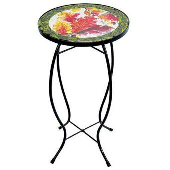Exhart Fall Leaves Glass Outdoor Bistro Table