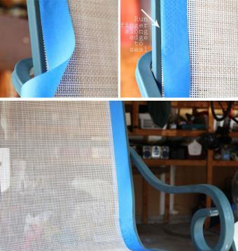 Taping off mesh sling seats
