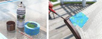 Using small brush to touch up metal patio furniture