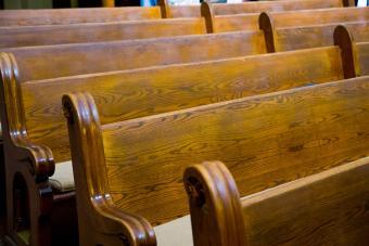 Wood church pews