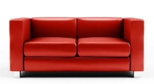 A red loveseat