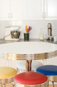 A colorful retro kitchen table