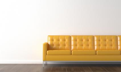 A modern-style yellow sofa