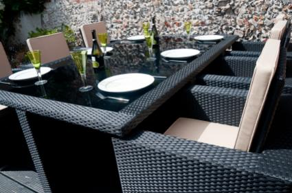 tropical rattan dining set