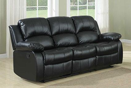 Homelegance Cranley Double Reclining Sofa - Black Bonded Leather