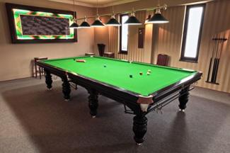 Professional snooker table in a playing room