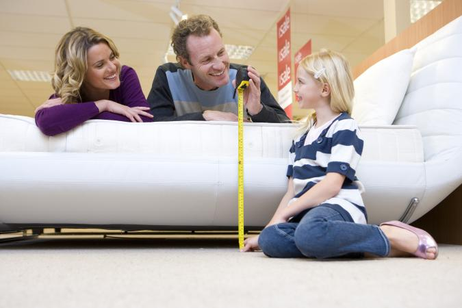 measuring bed in furniture shop