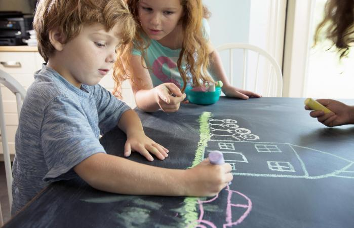 Children Decorate Furniture With Chalkboard Paint