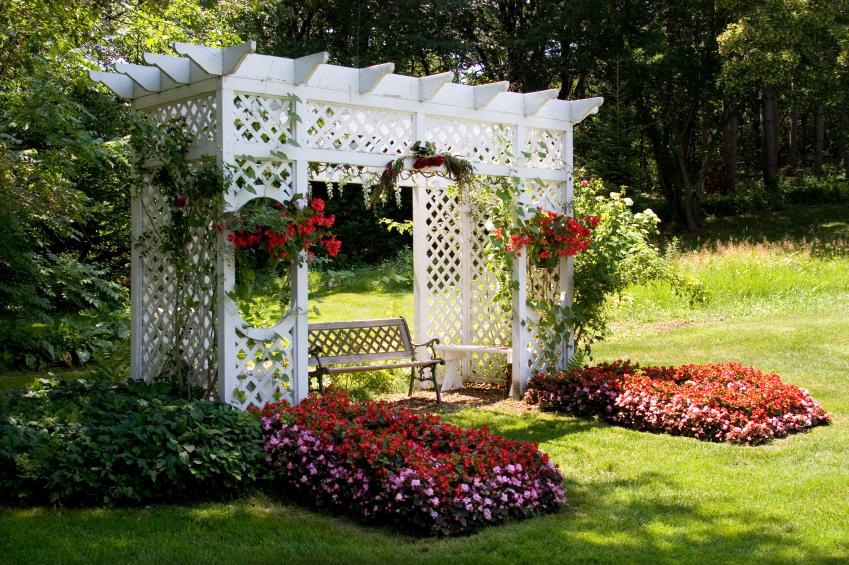 Large Arbor With Flower Planters