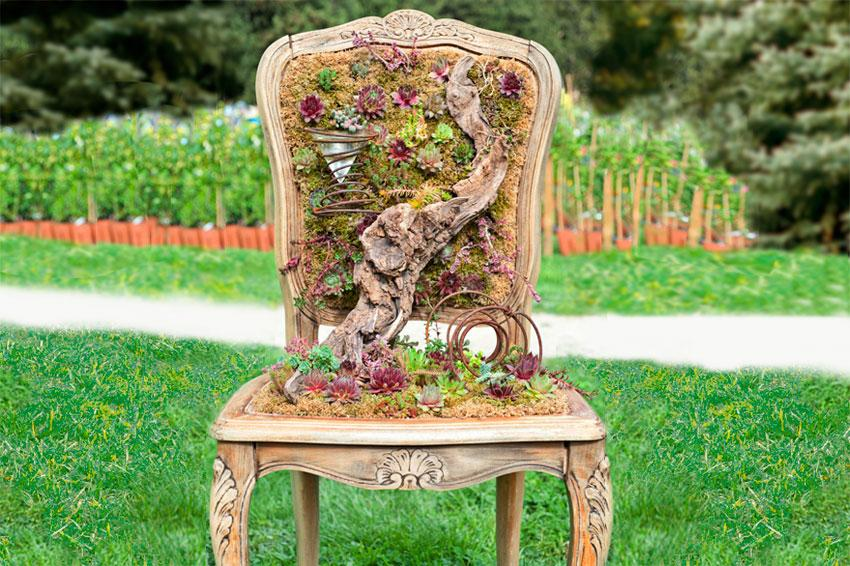 Antique chair succulent planter & Unusual Items to Use as Planters | LoveToKnow