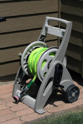 Garden hose on a reel