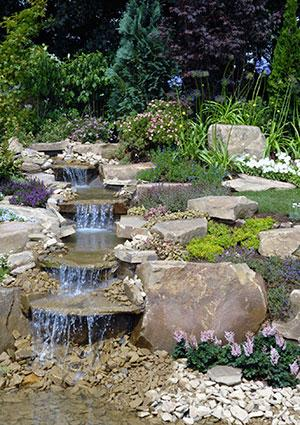 multi-tiered stream on a slope