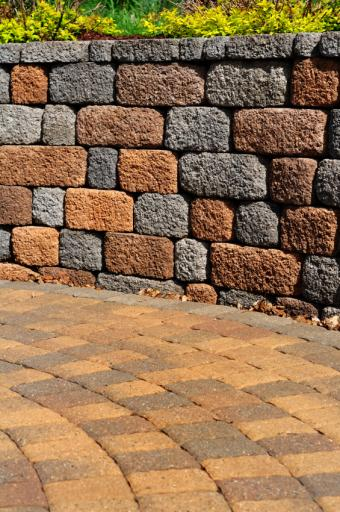paver path and block wall