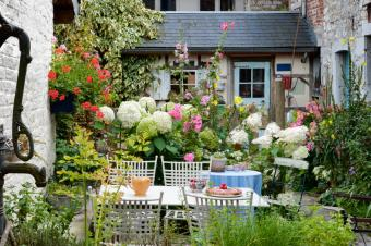 Flower-filled cottage patio