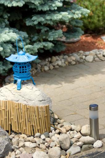 Zen patio with chinese lantern