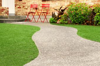 Artificial grass in backyard