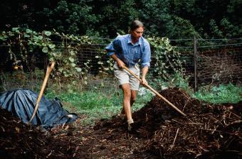 Man shoveling mulch in yard