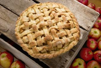 Apple Pie With Lattice Crust on a Rustic Wooden Crate