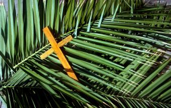 Wooden cross on palm leaves