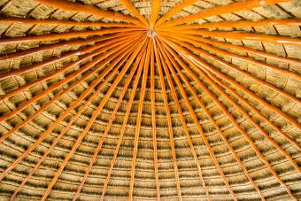 Palapa roof made from palm leaves