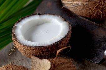 white coconut meat and milk