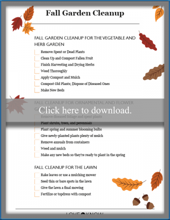 Fall Garden Cleanup printable