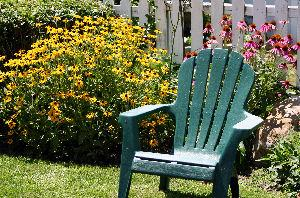 lawn chair in garden
