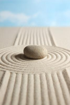 Rock and raked sand Zen garden