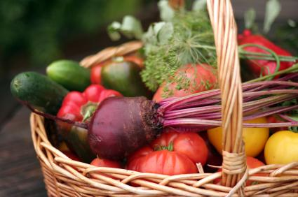 fall vegetables in a basket - Fall Vegetable Garden