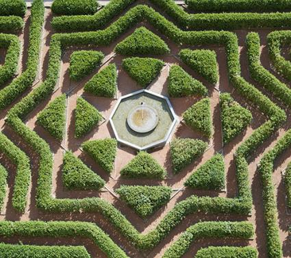 Perfectly Symmetrical Hedges In A Formal Garden