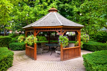 ornate gazebo on pavers