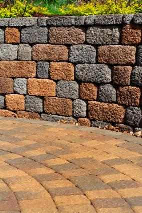 paver path and block wall